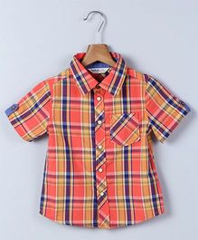 Beebay Half Sleeves Checks Shirt - Orange