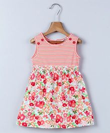 Beebay Sleeveless Floral Print & Stripes Dress - Multicolor