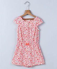 Beebay Cap Sleeves Floral Print Jumpsuit - Peach