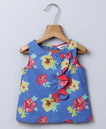 Beebay Sleeveless Waterfall Frill Floral Print Blouse - Blue