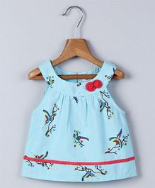 Beebay Sleeveless Parrot Print Top With Floral Appliques - Turquoise Red