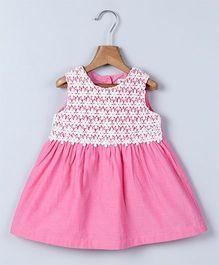 Beebay Chambray Lace Yoke Dress - Pink