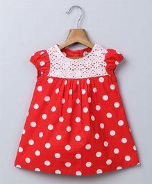Beebay Short Sleeves Frock Polka Dots - Red