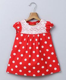 Beebay Short Sleeves Frock Polka Dots - Red