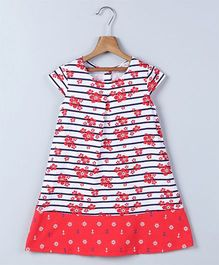Beebay Cap Sleeves Frock Floral Print - Red White