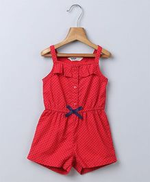 Beebay Sleeveless Jumpsuit Polka Dots Design - Red