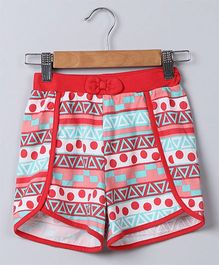 Beebay Tribal Print Knitted Shorts - Red Blue Peach White