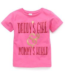 Playbeez Daddy's Girl & Mommy's World Glitter Tee - Pink