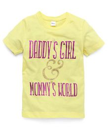 Playbeez Daddy's Girl & Mommy's World Glitter Tee - Yellow