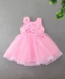 M'Princess Shimmer Dress With Diamond Studded Flower - Pink