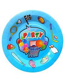 Shopaparty 10 Pieces Sports Theme Paper Plates - Blue
