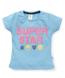 Cucumber Half Sleeves Tee Super Star Print - Blue