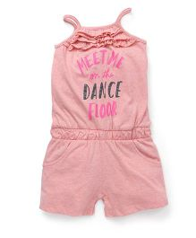 Cucumber Singlet Jumpsuit With Text Print - Pink
