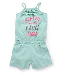 Cucumber Singlet Jumpsuit With Text Print - Green