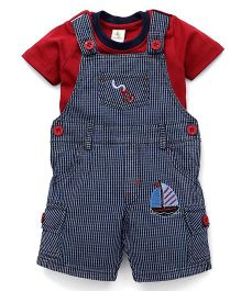 Cucumber Checks Dungaree And Inner Tee Anchor Embroidery - Blue & Red