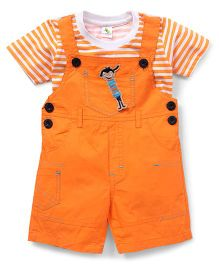 Cucumber Half Sleeves Striped T-Shirt And Dungaree Set - Orange