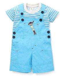 Cucumber Half Sleeves Striped T-Shirt And Dungaree Set - Blue