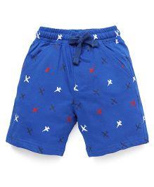 Cucumber Shorts Airplane Print With Drawstring - Blue