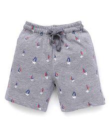 Cucumber Shorts Boat Print With Drawstring - Grey