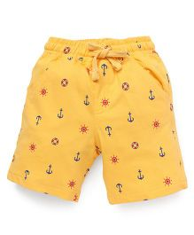 Cucumber Shorts Multi Print With Drawstring - Yellow