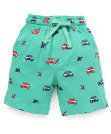 Cucumber Shorts Bus Print With Drawstring - Green
