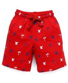 Cucumber Shorts Multi Print With Drawstring - Red