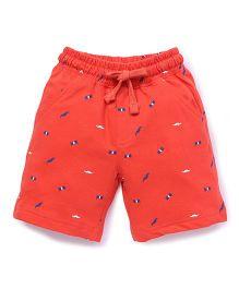 Cucumber Shorts Multi Print With Drawstring - Orange