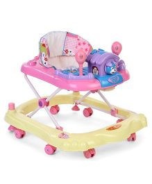 Toyzone Baby Walker With Dog Toy - Yellow Pink
