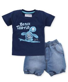 Marshmallows Half Sleeves T-Shirt And Denim Shorts Turtle Print - Navy & Light Blue