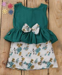Tiny Toddler Summer Green Peplum Dress With Floral Bow - Green