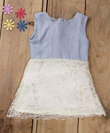 Tiny Toddler Summer Denim And Lace Flare Dress - Blue