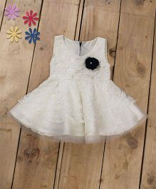 Tiny Toddler Princess Cut Lace Dress With Corsage - White