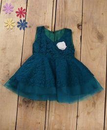 Tiny Toddler Princess Cut Lace Dress With Corsage - Sea Green