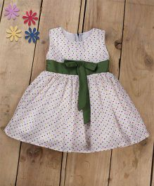 Tiny Toddler Summer Heart Printed Dress With Bow - White