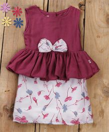 Tiny Toddler Summer Lavender Peplum Dress With Floral Bow - Lavender