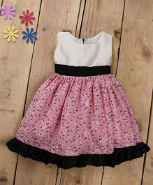 Tiny Toddler Summer Floral Print Dress With Satin Bottom Frills - Pink