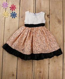 Tiny Toddler Summer Floral Print Dress With Satin Bottom Frills - Peach