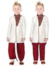 Ethnik's Neu Ron Kurta Dhoti Set With Pajama - dark Red
