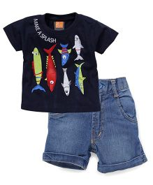 Little Kangaroos Half Sleeves T-Shirt And Shorts Fish Print - Navy Light Blue