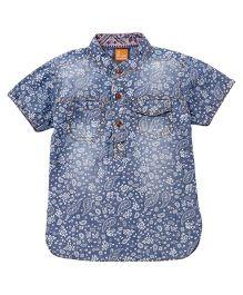 Little Kangaroos Half Sleeves Shirt Floral Print - Light Blue
