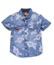 Little Kangaroos Half Sleeves Denim Shirt Floral Print - Light Blue