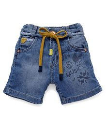 Little Kangaroos Denim Shorts With Drawstrings - Light Blue