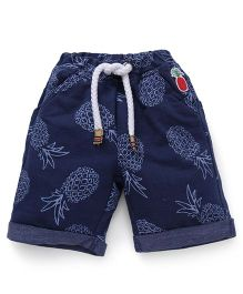 Little Kangaroos Denim Shorts Pineapple Print - Navy