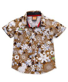 Little Kangaroos Half Sleeves Shirt Floral Print - Fawn
