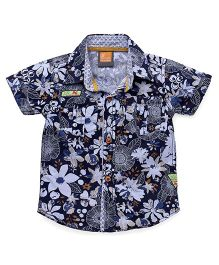 Little Kangaroos Half Sleeves Shirt Floral Print - Navy