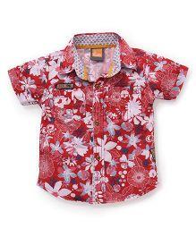 Little Kangaroos Half Sleeves Shirt Floral Print - Red