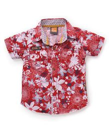 Little Kangaroos Half Sleeves Shirt Floral Print - Red