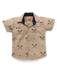 Little Kangaroos Half Sleeves Printed Shirt - Brown