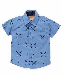 Little Kangaroos Half Sleeves Printed Shirt - Sky Blue