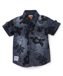 Little Kangaroos Half Sleeves Denim Shirt Flower Print - Dark Blue